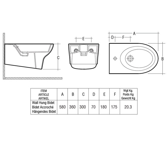 Technical drawing QS-V36295 / Rak Ceramics - QS-V36295