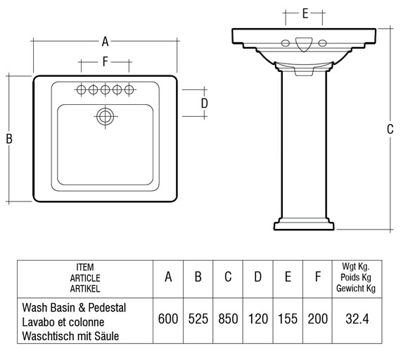 Technical drawing QS-V36300 / Rak Ceramics - QS-V36300