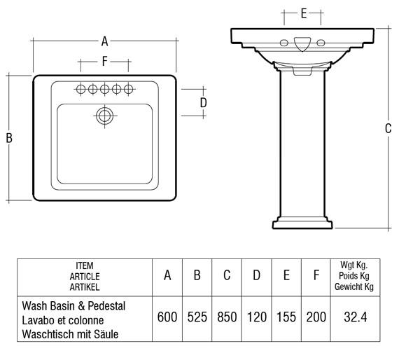 Technical drawing QS-V36300 / Rak Ceramics - QS-V36300