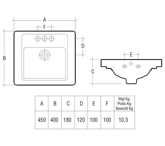 Technical drawing QS-V36301 / Rak Ceramics - QS-V36301