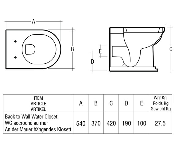 Technical drawing QS-V36303 / Rak Ceramics - QS-V36303