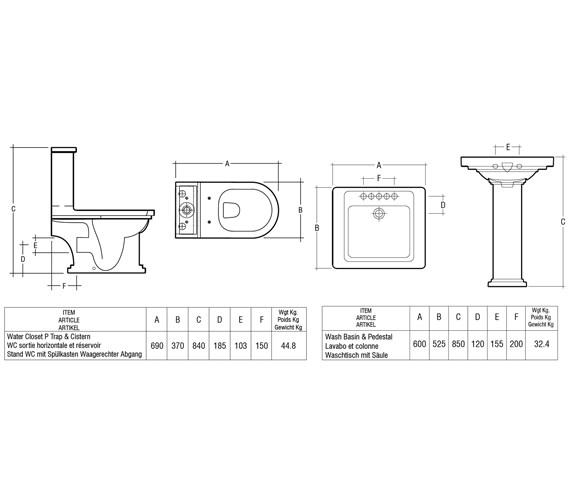Technical drawing QS-V36304 / Rak Ceramics - QS-V36304