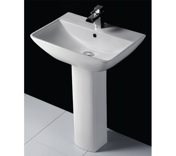 Additional image of RAK Summit 1 Tap Hole Basin With Full Pedestal 600mm