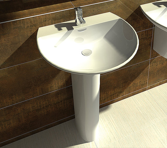 Additional image of RAK Reserva 1 Tap Hole Basin With Full Pedestal 550mm - RES55BAS1