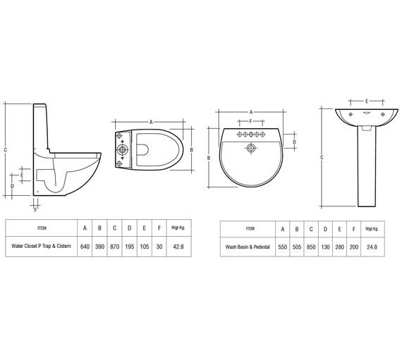 Technical drawing QS-V36322 / Rak Ceramics - QS-V36322