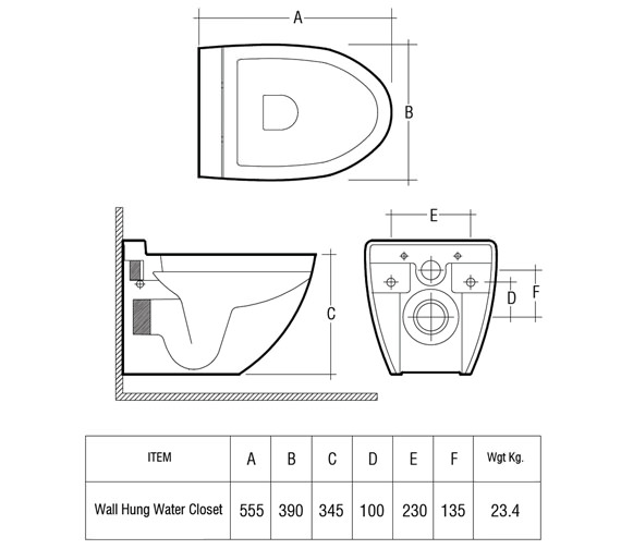 Technical drawing QS-V36323 / Rak Ceramics - QS-V36323
