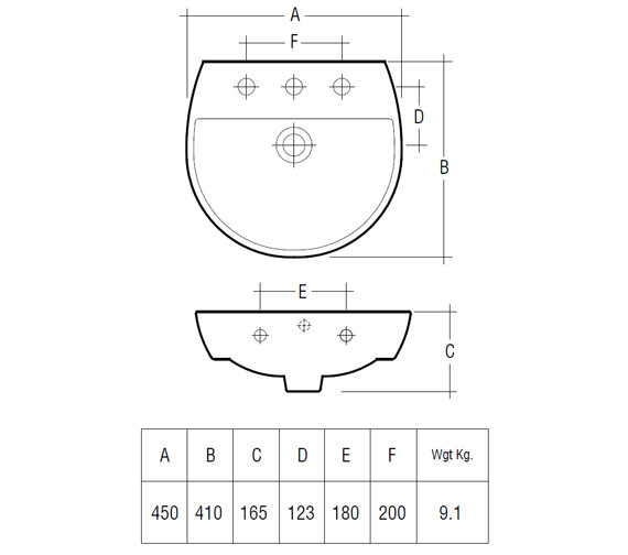 Technical drawing QS-V36324 / Rak Ceramics - QS-V36324