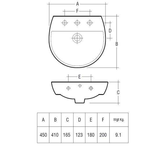Technical drawing QS-V36324 / Rak Ceramics - QS-V36324