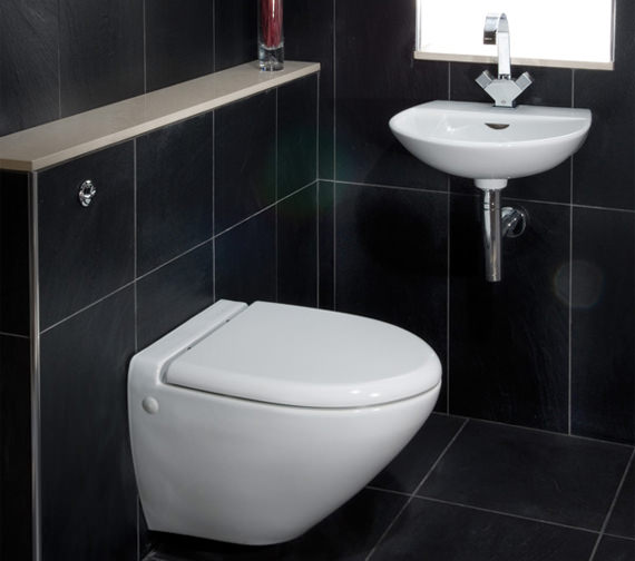 Additional image of RAK Reserva 1 Tap Hole Wall Hung Hand Basin 400mm - RES40BAS1