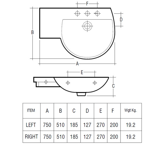Technical drawing QS-V36326 / Rak Ceramics - QS-V36326