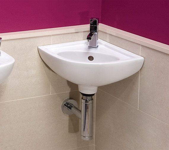 Additional image of RAK Compact 1 Tap Hole Wall Hung Corner Basin - COMCNRB1
