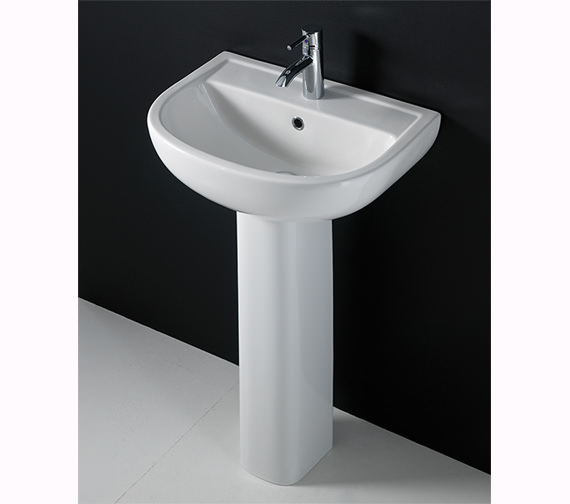 RAK Compact 1 Tap Hole Basin With Full Pedestal 460mm - COM46BAS1