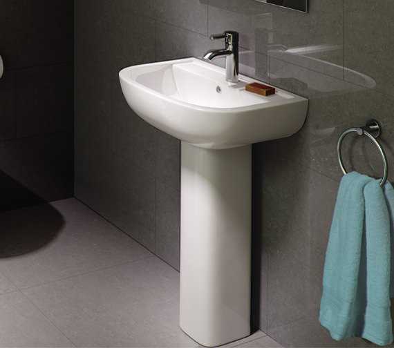 Additional image of RAK Compact 1 Tap Hole Basin With Full Pedestal 550mm - COM55BAS1