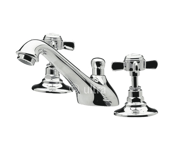 Ultra Beaumont 3 Hole Deck Mounted Basin Mixer Tap With Pop-Up Waste