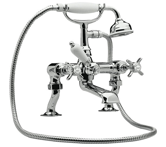 Premier Beaumont Luxury Cranked Deck Mounted Bath Shower Mixer Tap With Kit