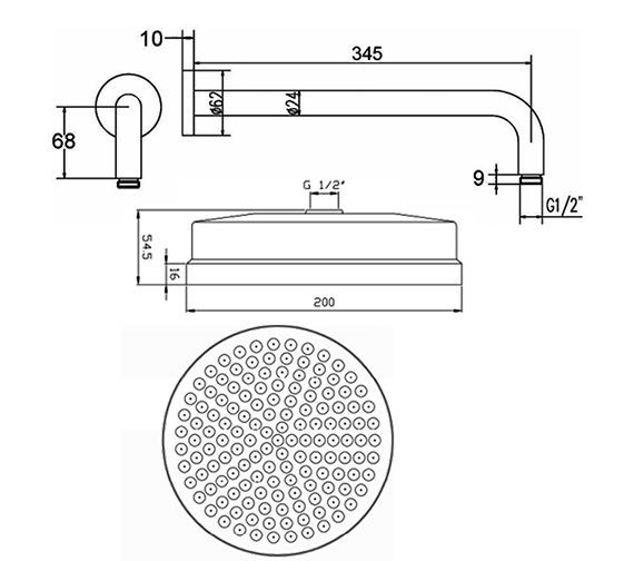 Technical drawing QS-V36572 / HEAD01