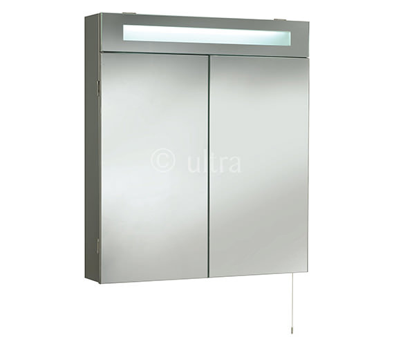Ultra tuscon double door mirrored cabinet with light 620 x for Bathroom cabinets 700mm