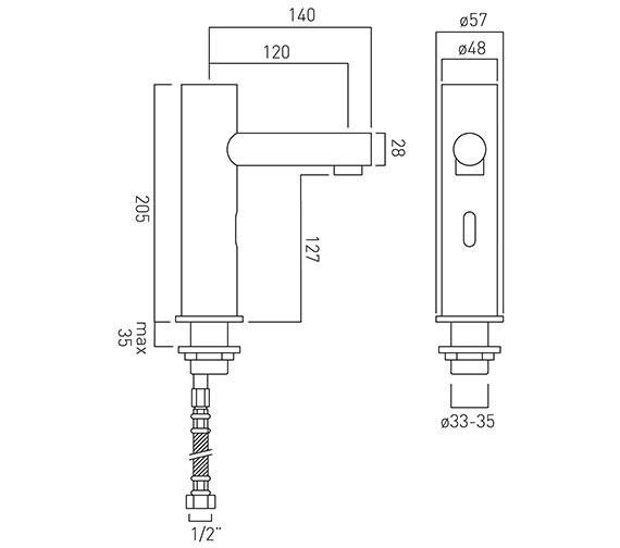 Technical drawing QS-V37046 / IR-100/ZOO-C/P