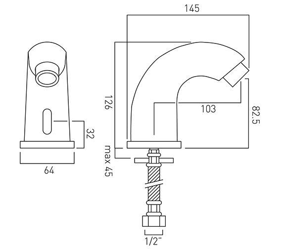 Technical drawing QS-V37048 / IR-100/PRO-C/P