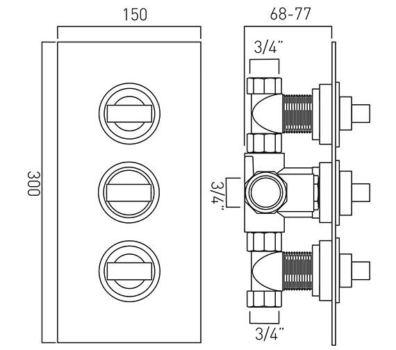 Technical drawing QS-V37064 / NOT-128C-3/4-C/P