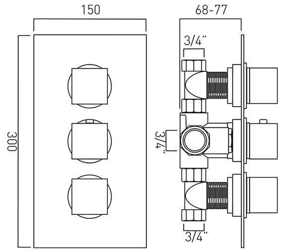 Technical drawing QS-V37088 / MIX-128C-3/4-C/P