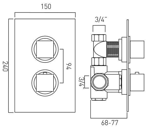 Technical drawing QS-V37089 / MIX-148C-3/4-C/P