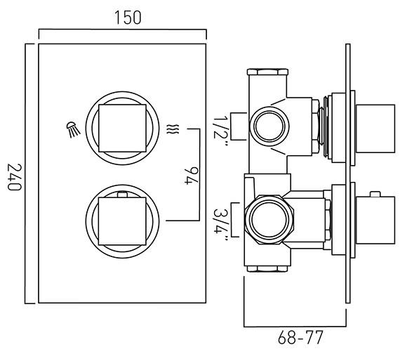 Technical drawing QS-V37090 / MIX-148C/2-C/P