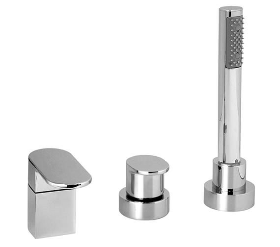 Vado Life 3 Hole Deck Mounted Bath Shower Mixer Tap - LIF-132-NS