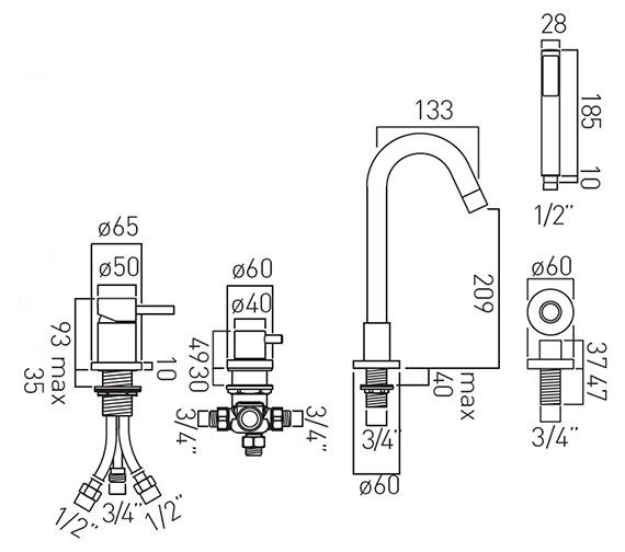 Technical drawing QS-V37184 / ZOO-132-C/P