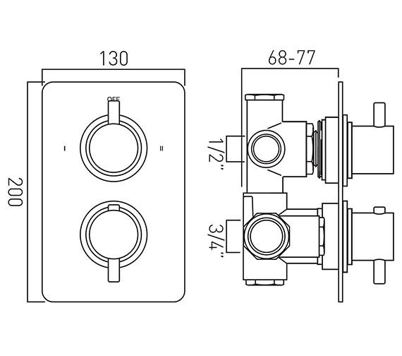 Technical drawing QS-V37205 / CEL-148C/2/SQ-C/P