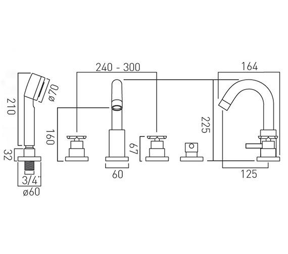 Technical drawing QS-V37244 / TON-135-3/4-C/P