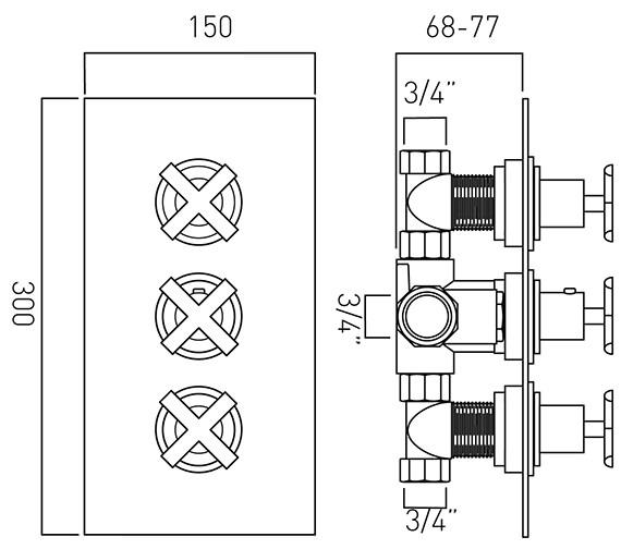 Technical drawing QS-V37250 / TON-128C-3/4-C/P