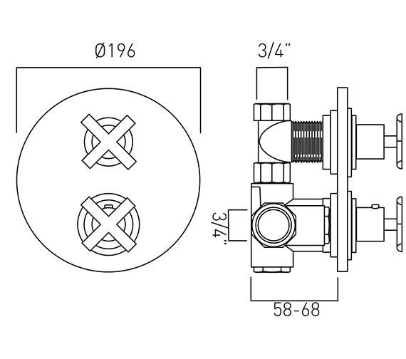 Technical drawing QS-V37252 / TON-348C-3/4-C/P