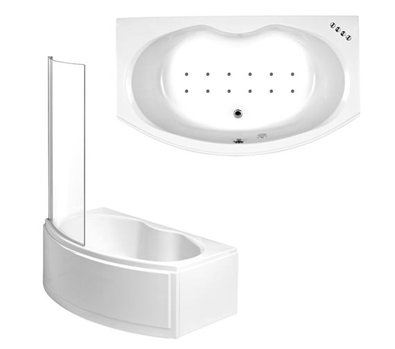 Phoenix Napoli Left Hand Airpool Shower Bath With Panel And Screen