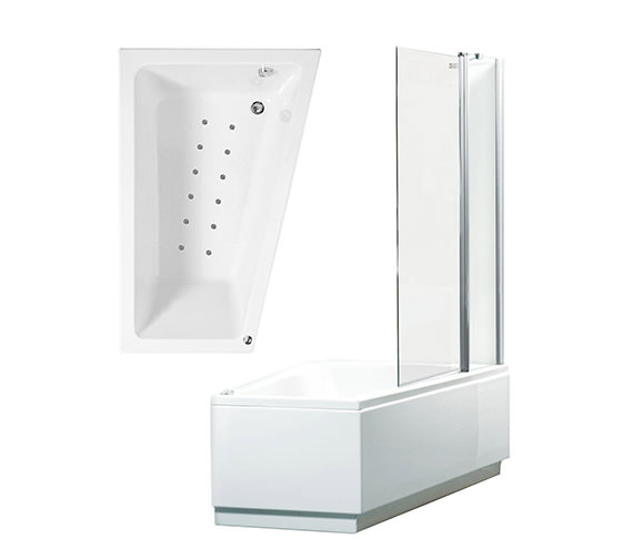 Phoenix Taranto Right Hand Airpool Shower Bath With Panel 1500mm