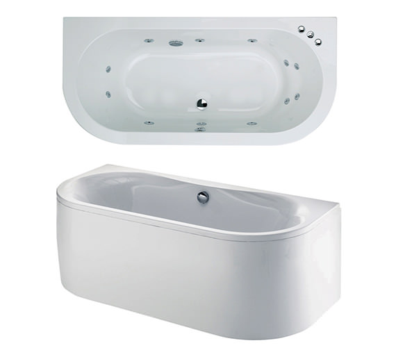 Phoenix Dee Bow Fronted Double Ended Whirlpool Bath 1700 x 800mm System 1