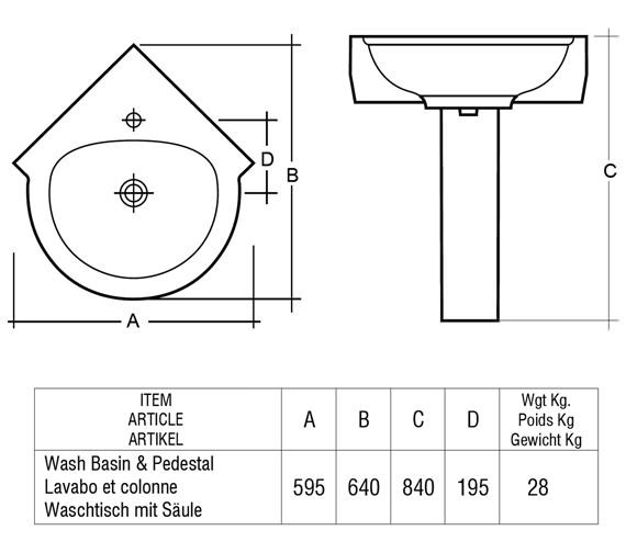 Technical drawing QS-V37723 / Rak Ceramics - QS-V37723