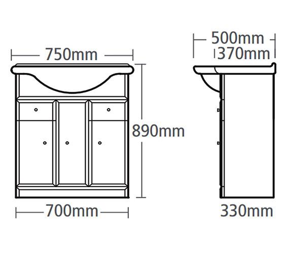 Technical drawing QS-V37801 / VB700W