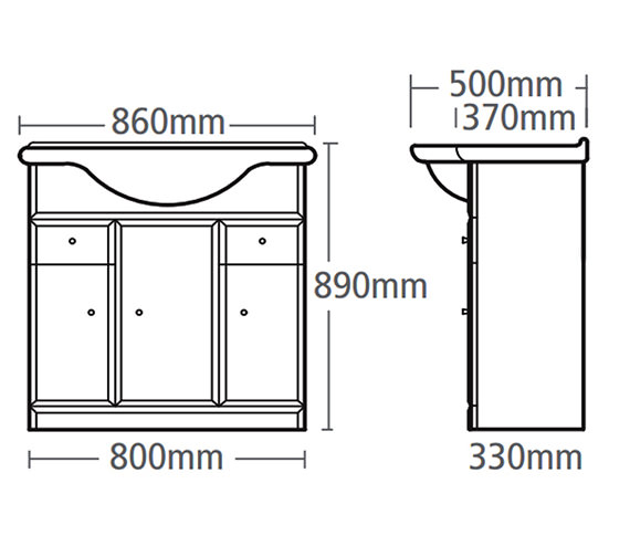 Technical drawing QS-V37803 / VB800W