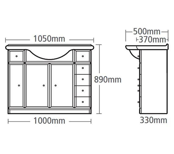Technical drawing QS-V37805 / VB1000W