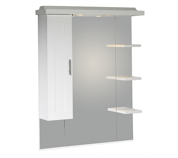 Roper Rhodes New England 800mm White Mirror With Canopy-Shelves-Cupboard