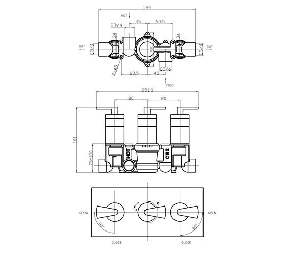 Technical drawing QS-V38008 / ES2001RC