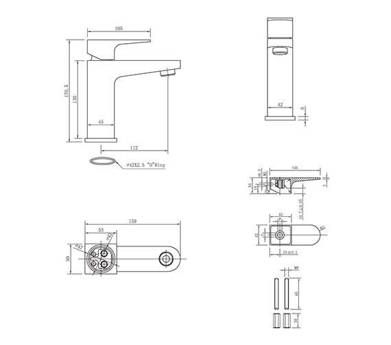 Technical drawing QS-V38011 / MO110DNC