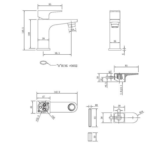 Technical drawing QS-V38012 / MO114DNC