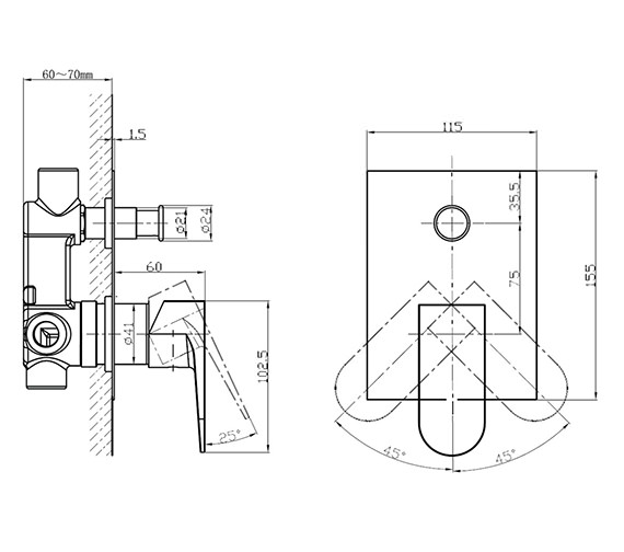 Additional image of Crosswater Modest Manual Shower Valve - With Or Without Diverter
