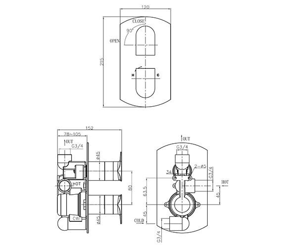 Technical drawing QS-V38024 / MO1000RC