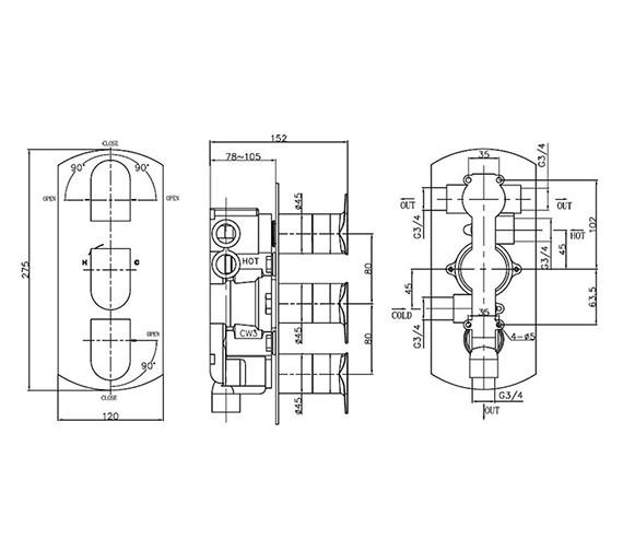 Technical drawing QS-V38028 / MO3000RC