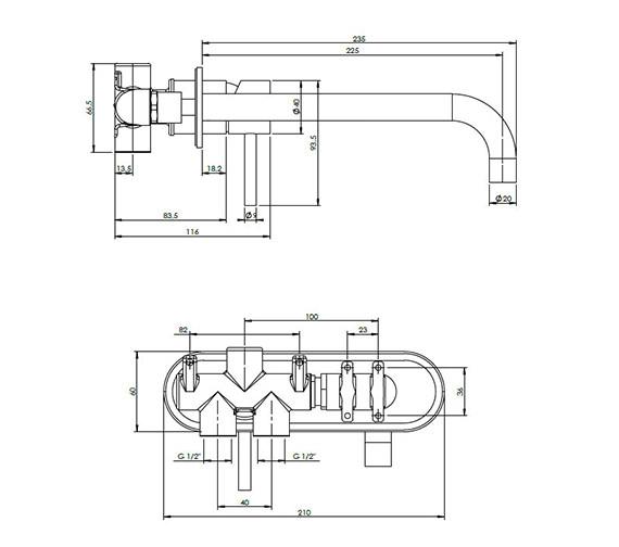 Technical drawing QS-V38059 / CE121WNC