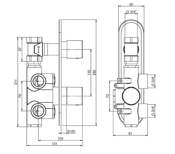 Technical drawing QS-V38064 / CE1000RC+