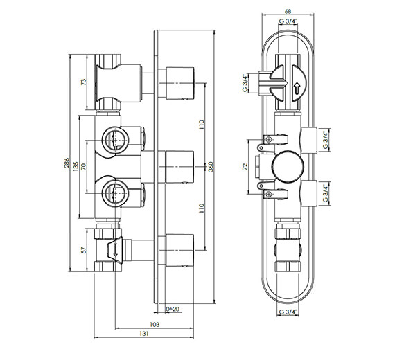 Technical drawing QS-V38066 / CE3000RC+